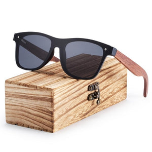 Wooden Rimless Square Frame Sunglasses