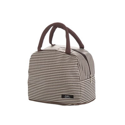 Striped Portable Insulated Handbags