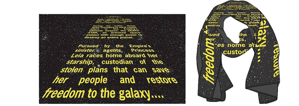 STAR WARS EP4 40TH ANNIVERSARY OPENING CRAWL SCARF W/LAPEL PIN