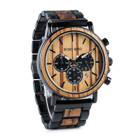 Luxury Wood & Stainless Steel Military Watch