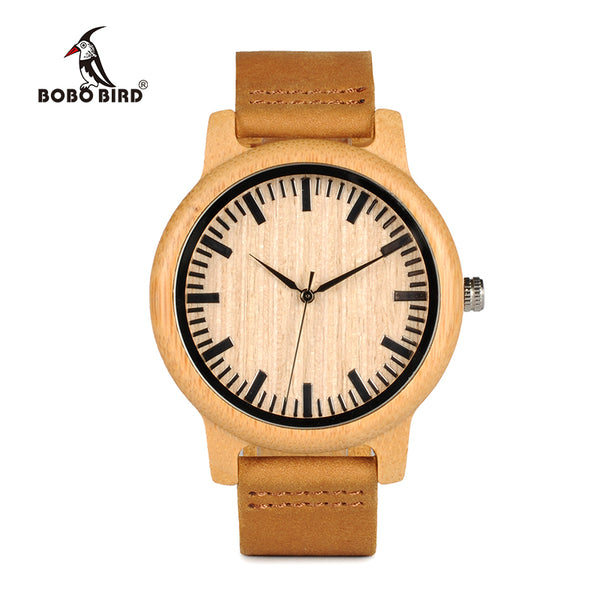 Plain Bamboo Leather Watch