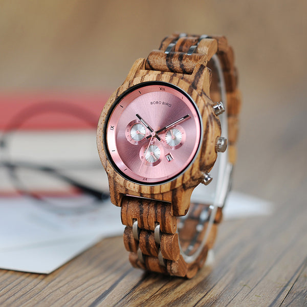 Luxury Wood Chronograph Date Quartz Watch