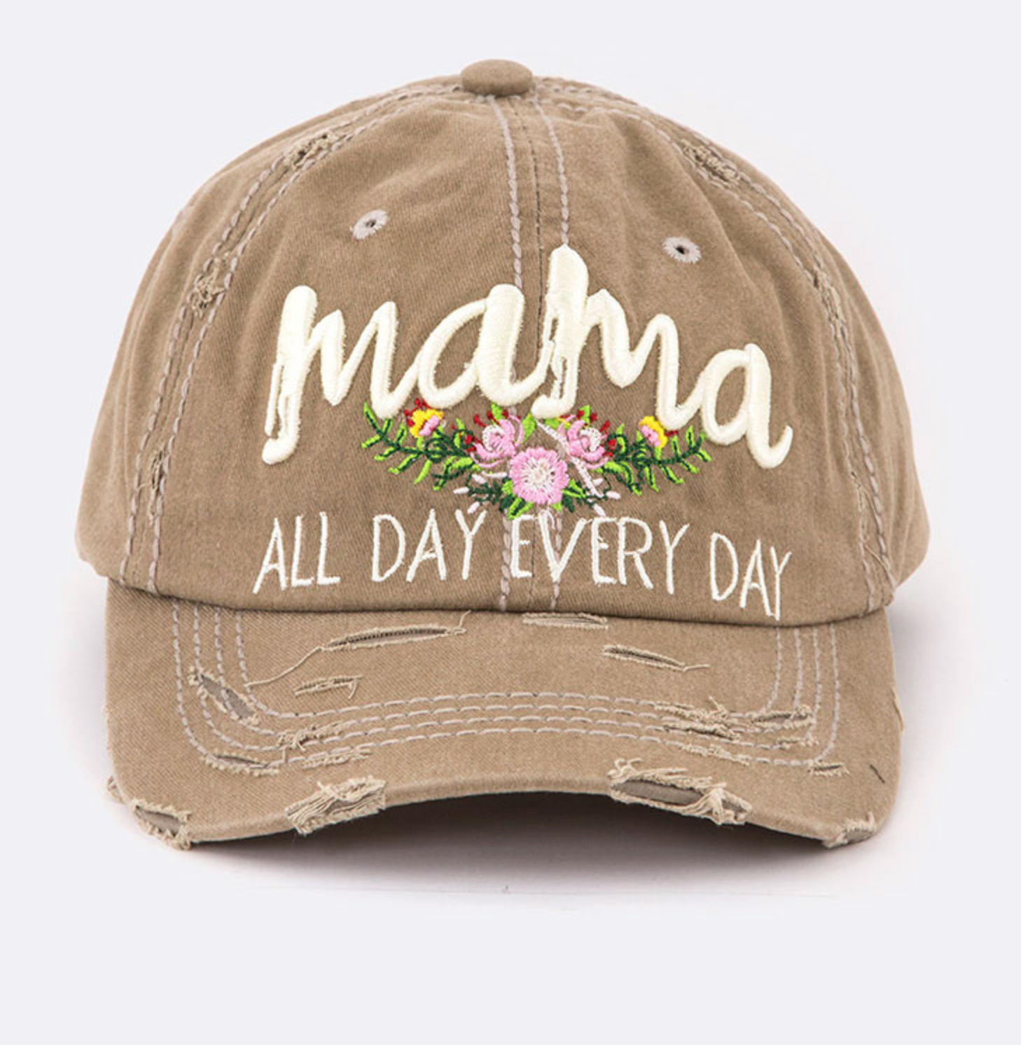Mama All Day Distressed Cap