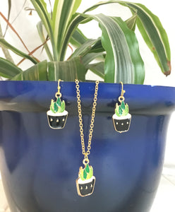 Succulent Pot Necklace