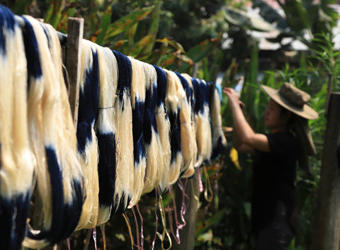 Yarns being hung out to dry at the Ock Pop Tok workshop in Luang Prabang, Laos