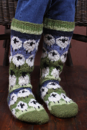 Flock Of Sheep Long Woollen Socks