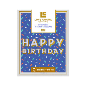 Milk Honeycomb 'Happy Birthday' Bar by Love Cocoa