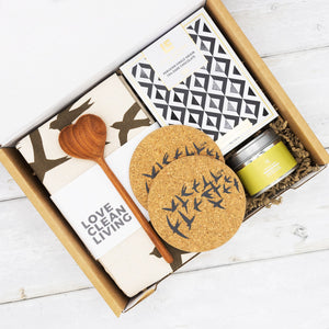 Curated gift box of sustainable items making a perfect housewarming gift