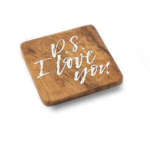 sustainable rubber wood coaster