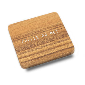 coffee or me sustainable rubber wood coaster