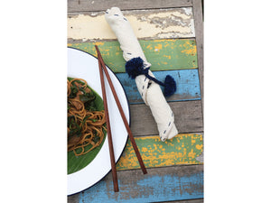 wooden chopsticks with hand stitched napkin - fair trade