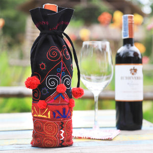 Embroidered Wine Bag - The Ethical Gift Box