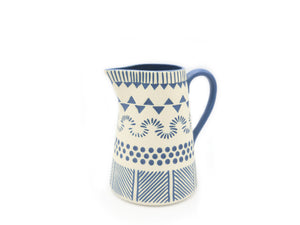 Aztec Blue Etched Jug - The Ethical Gift Box