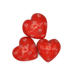 Soapstone Message Hearts - I Love You