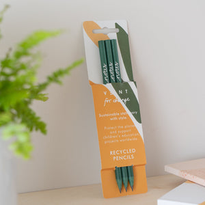 3 Green Recycled Pencils in Olive Notes Sleeve
