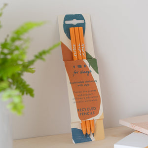 3 Orange Recycled Pencils in Earth Notes Sleeve