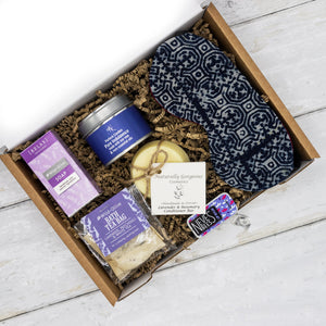 A unique eco friendly gift box comprising beautiful handmade self care products