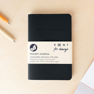 Recycled Leather Pocket Journal – Black