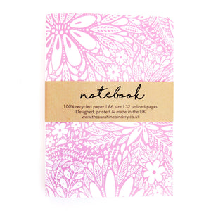 Pink Floral A6 Recycled Blank Notebook