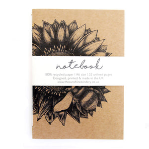 Sunflower & Bee A6 Recycled Blank Notebook