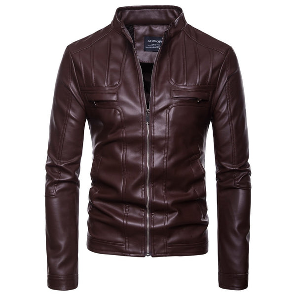 Men's Motorcycle Leather Jacket - Free Shipping