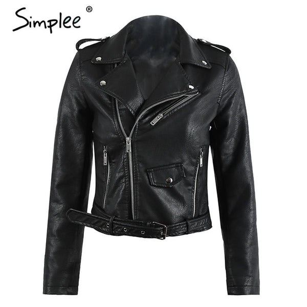 Classic Short Motorcycle Leather Jacket for Women