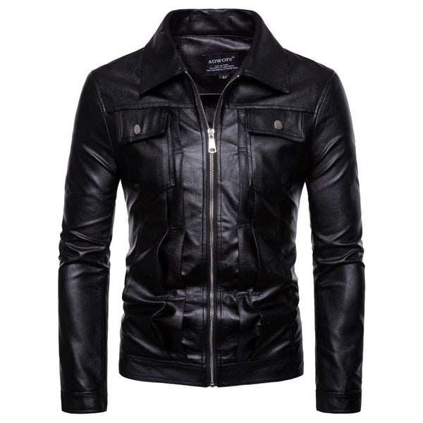 Mens Motorcycle Leather Jacket - Free Shipping