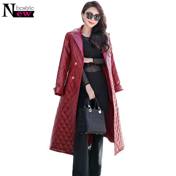 2019 Autumn Black Leather Women's Trench Coat - Pugz n Stuff