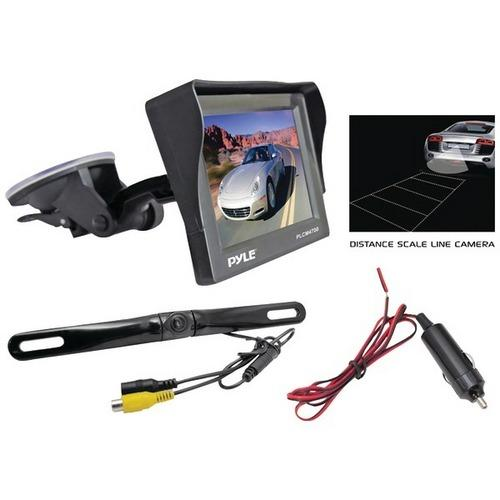 "Pyle(R) PLCM4700 4.7"" Window Suction-Mount LCD Monitor with Die-Cast License Plate Mount Backup Color Camera & Distance-Scale Line"