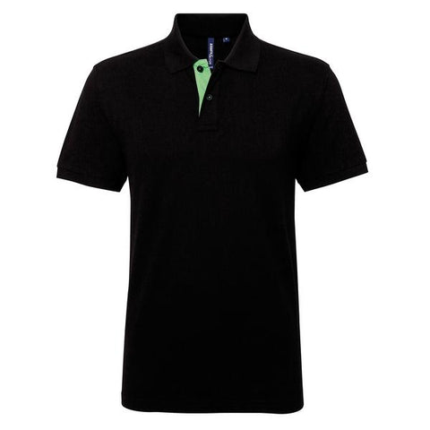 Asquith & Fox Men's classic fit contrast polo in Black/ Lime - 121 Workwear - Personalised Workwear