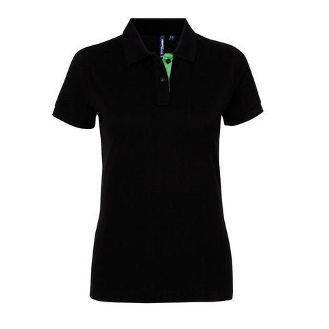 Asquith & Fox Women's contrast polo in Black/ Lime - 121 Workwear - Personalised Workwear