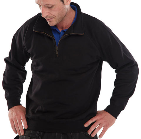 Quarter Zip Pc S/Shirt Blk