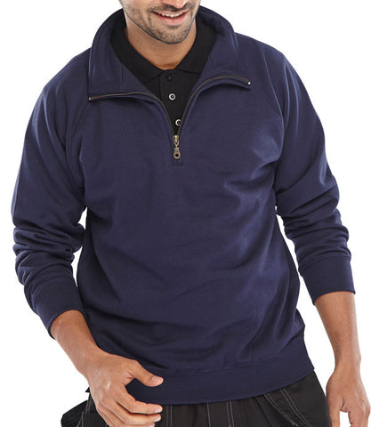 Quarter Zip Pc S/Shirt Nvy