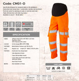 Leo Workwear Ladies Maternity Hi-vis Cargo Trouser