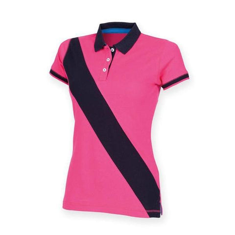 Front Row Women's diagonal stripe piquǸ polo shirt in Bright Pink/ Navy - 121 Workwear - Personalised Workwear