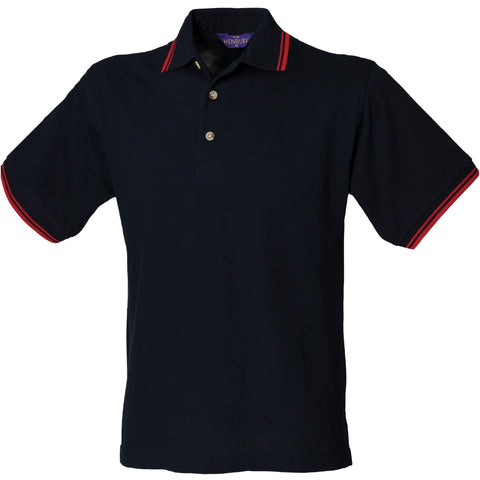 Henbury Double tipped collar and cuff polo shirt