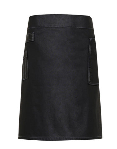 Premier Division waxed-look denim waist apron