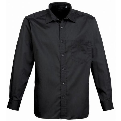 Premier Long sleeve poplin shirt in Black* - 121 Workwear - Personalised Workwear