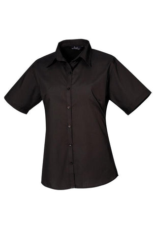 Premier Women's short sleeve poplin blouse in Black* - 121 Workwear - Personalised Workwear