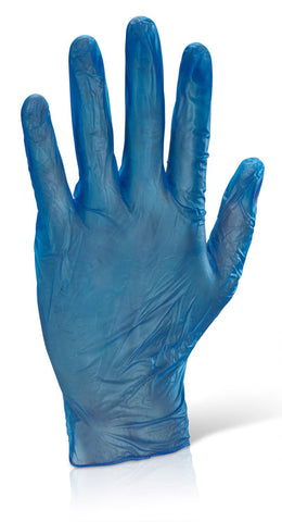 Vinyl Disp Gloves Pf Blue