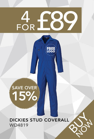 4 for £89 - Dickies Stud Coverall