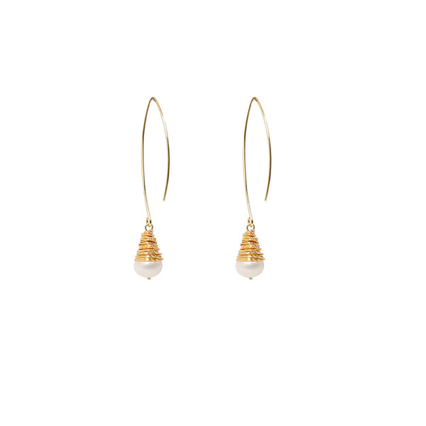 Chandelier Gold Pearl Earrings