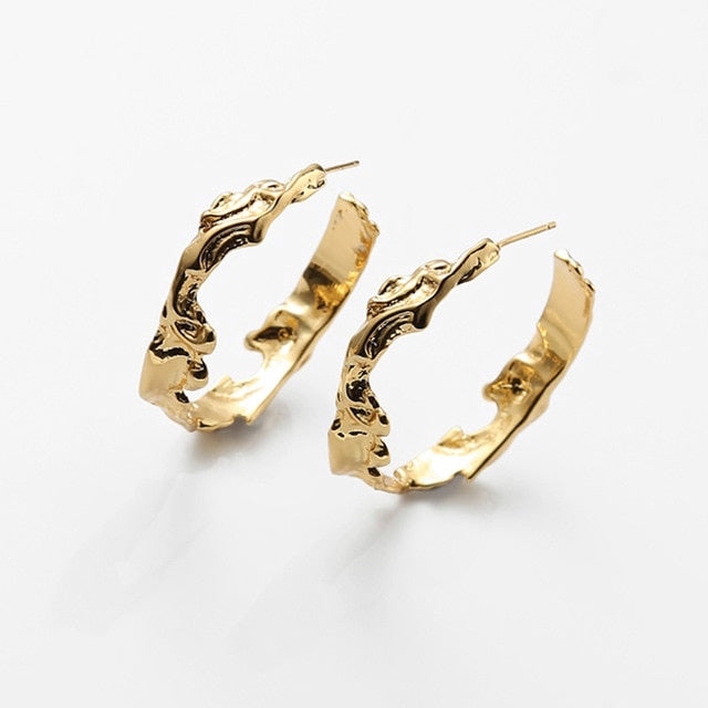Abstract Gold-Plated Big Hoops