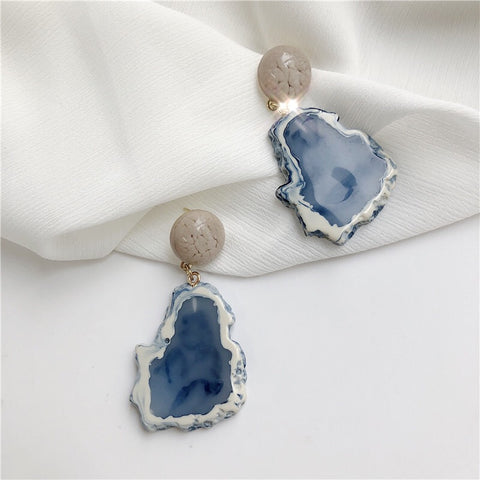Blue Stone Irregular Earrings