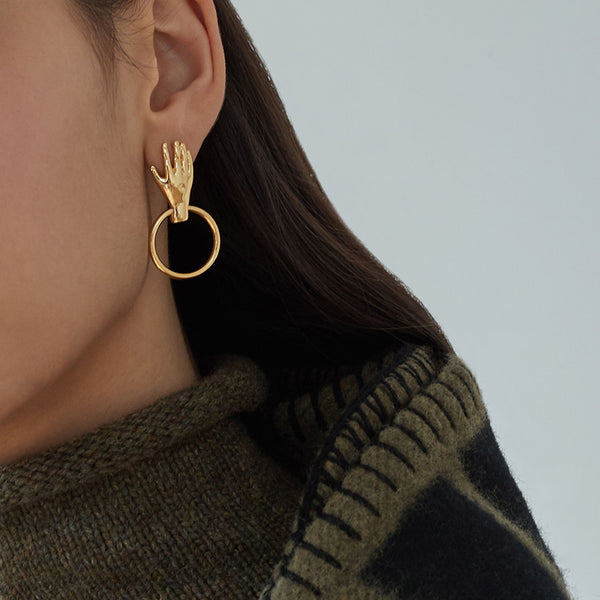 Small Hand Gold Hoop Earrings