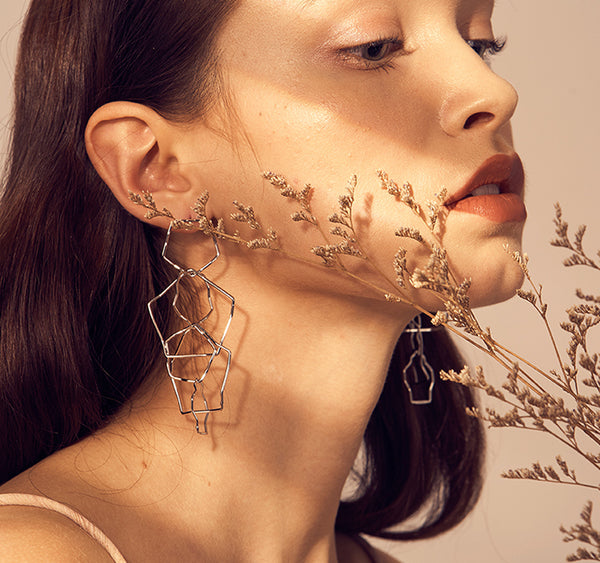 Polygonal Geometric Long Earrings
