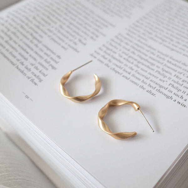 Matte Gold Open Twisted Hoop Earrings