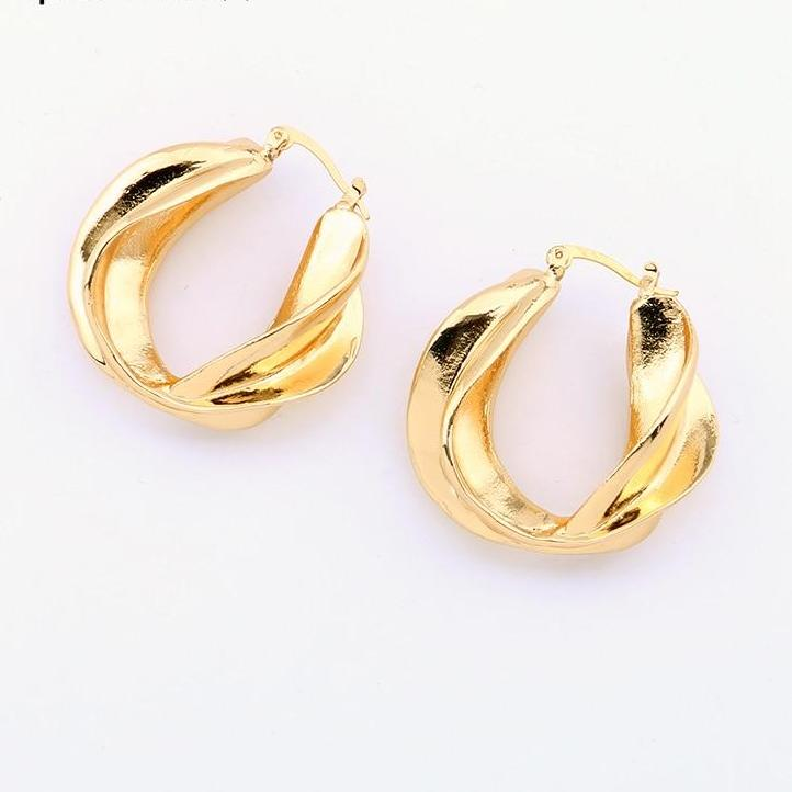 Big Twisted Gold Hoop Earrings