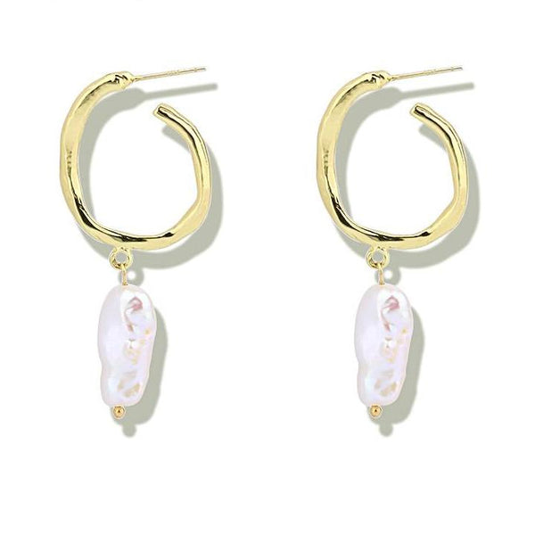 Irregular Hanging Pearl Hoop Earrings