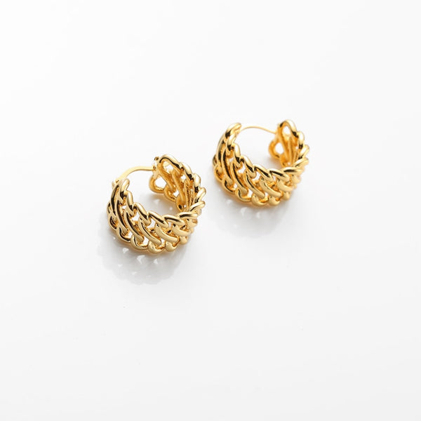 Small Twisted Gold Hoop Earrings